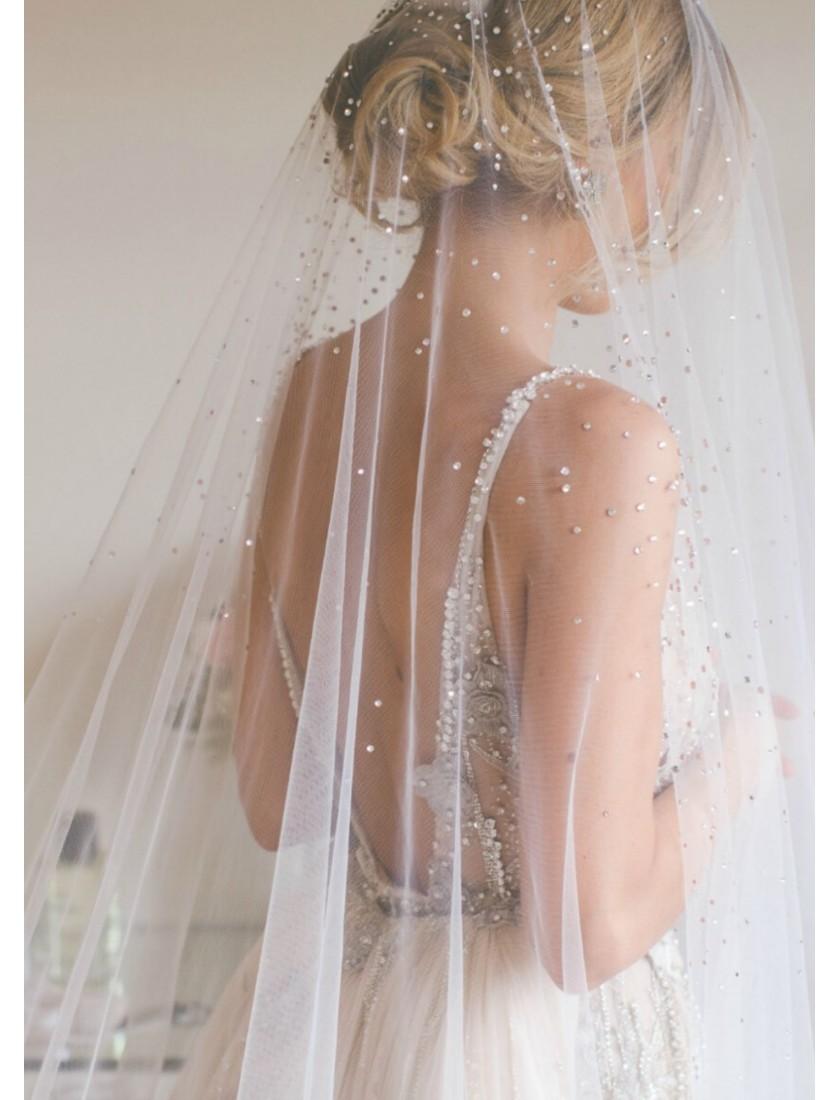 Georgina Veil   Crystal Rhinestone Drop Veil with Blusher Cathedral Length 3 Meters Bridal Veil