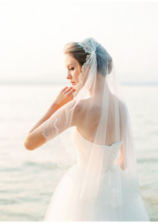 Tiffany Veil | Vintage Juliet Cap with Pearl Beaded Elbow Length 1 Meter Lace Wedding Veil