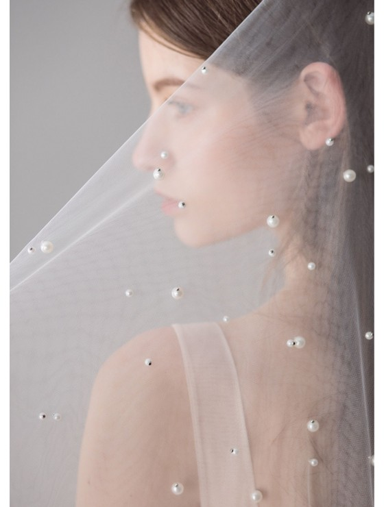 Gwyneth Veil   Pearl Beaded Ivory Veil with Blusher Fingertip 1.8 Meters Bridal Veil