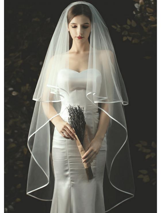 Charlotte Veil | Satin Ribbon Edge Drop Veil Waltz Length 2 Meters Ivory Wedding Veil