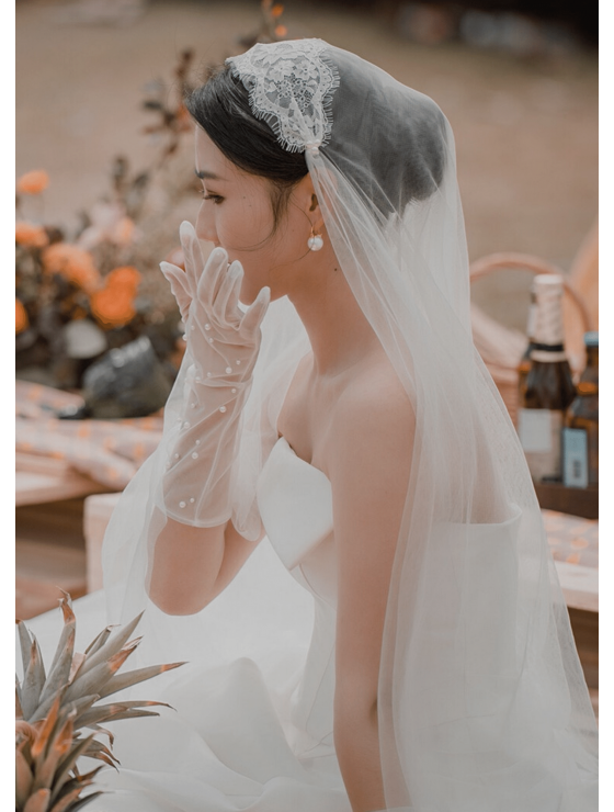 Grace Veil   Boho Beaded Pearl Juliet Cap Veil with Blusher Cathedral Length 3 Meters Bridal Veil
