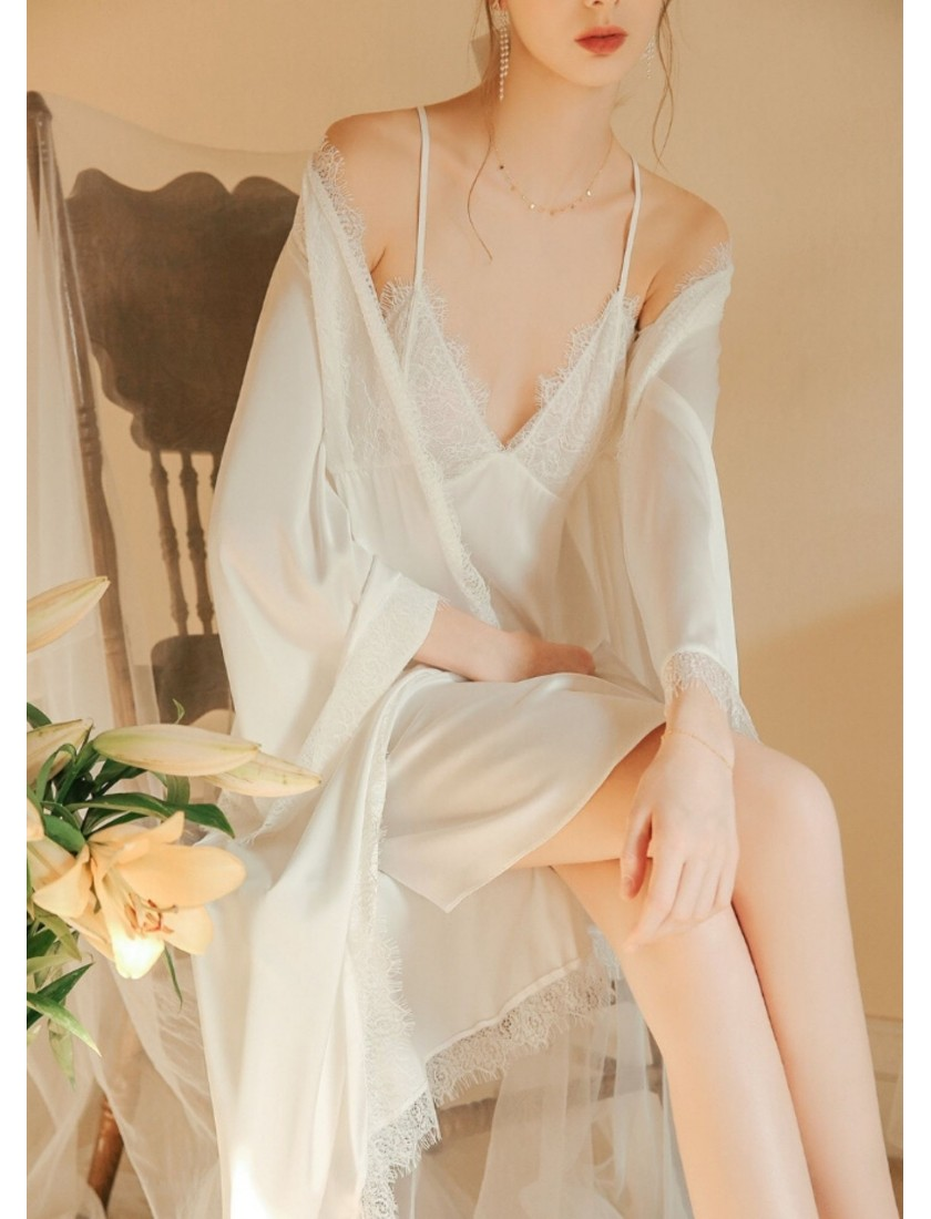 Astaire Luxe Silk Robe with Lace Trim