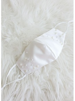 Avery | Satin Face Mask with Pearls