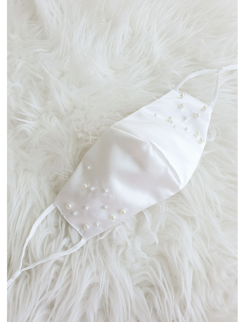 Avery   Satin Face Mask with Pearls