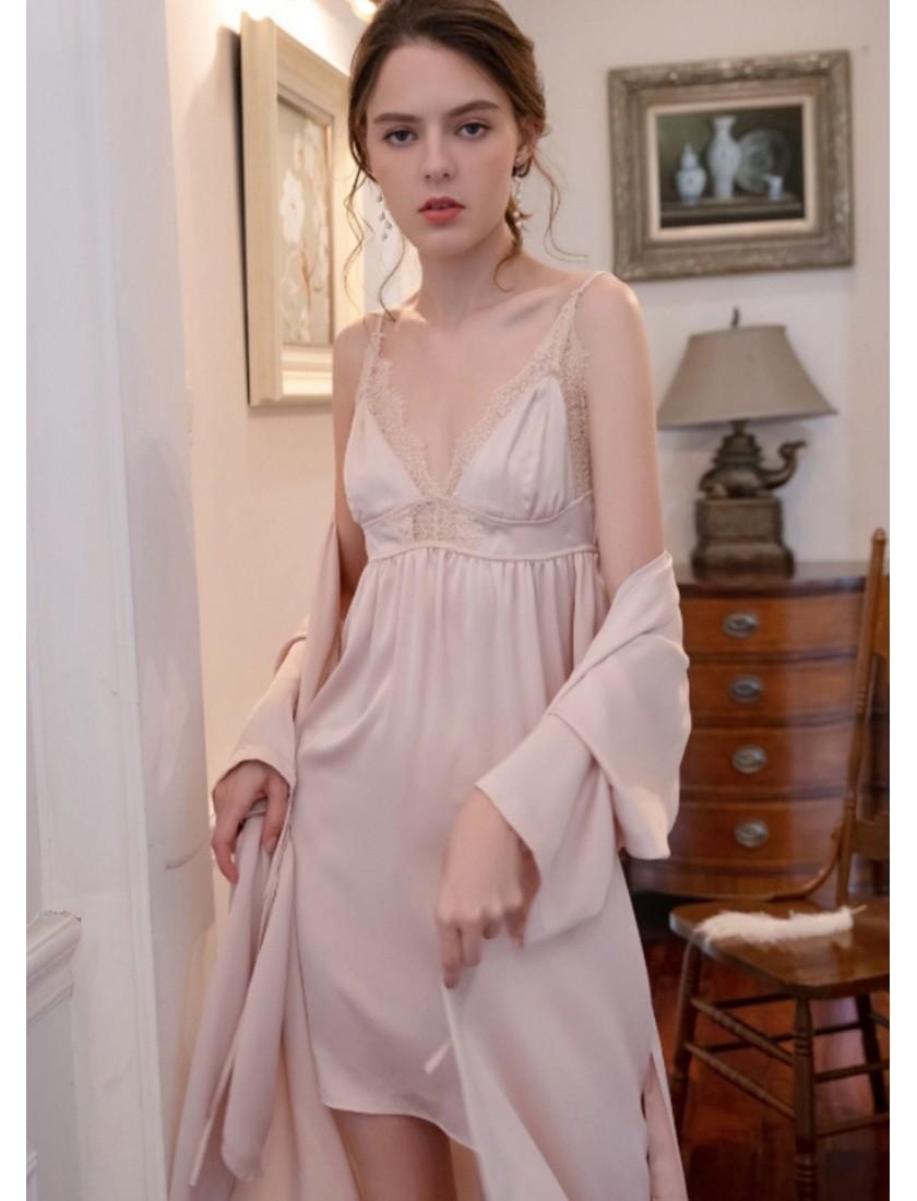 Tria Luxe Silk Bridal Robe (Pastel Pink)