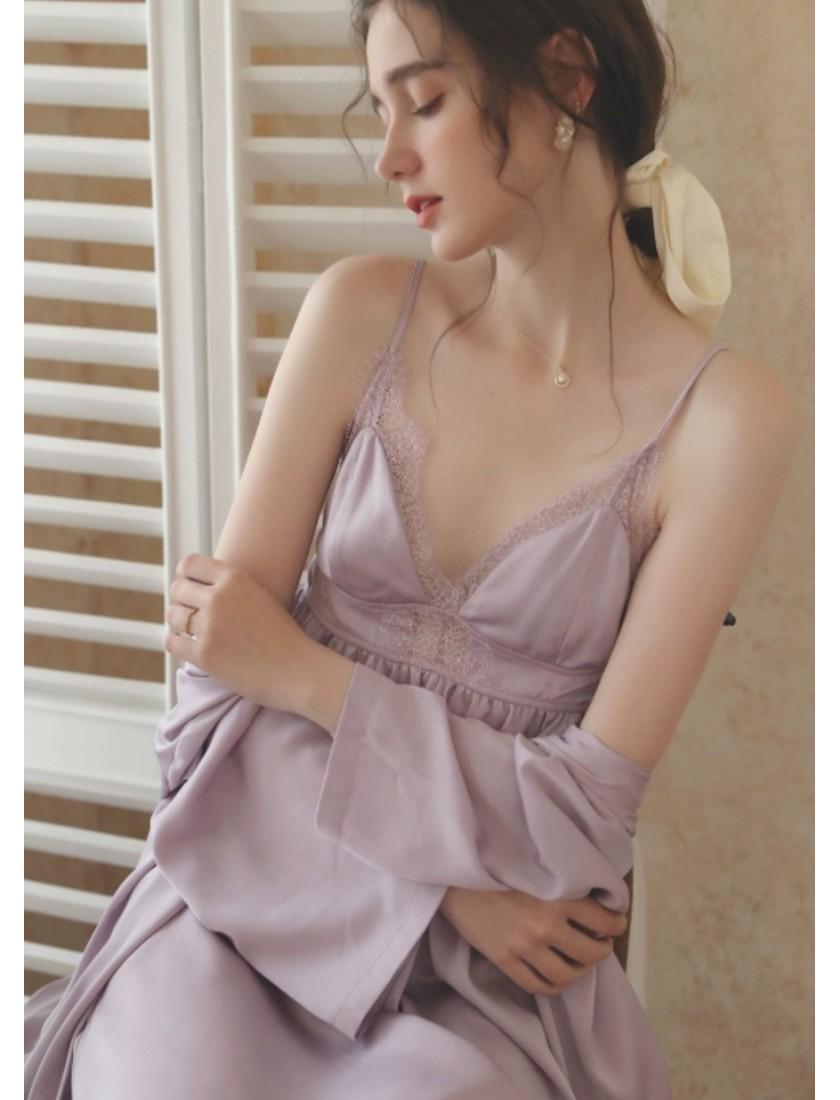 Tria Luxe Silk Bridal Robe (Lilac)