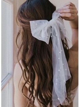 Cherie Veil | Pearl Embellished Hair Bow Accessory For Bride / Bridesmaids