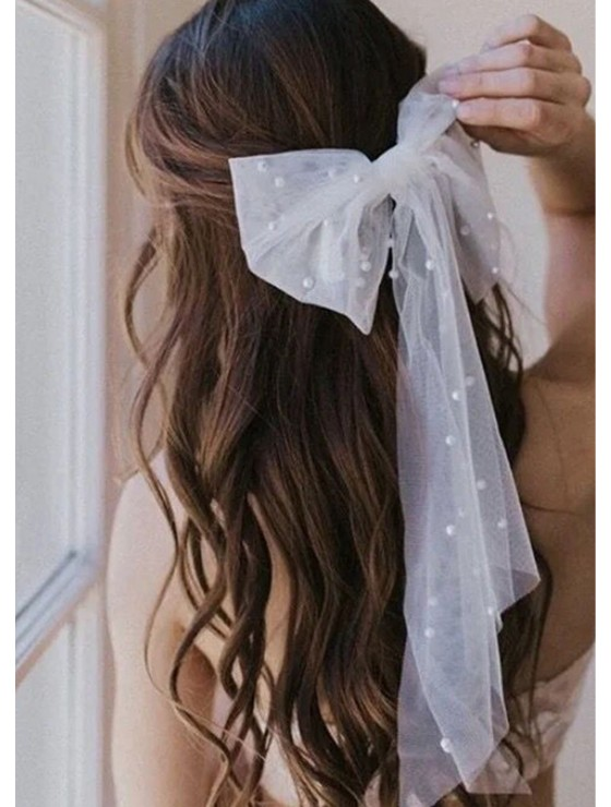 Cherie Veil   Pearl Embellished Hair Bow Accessory For Bride / Bridesmaids