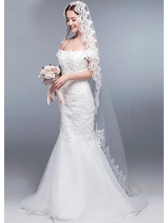 Iris Veil   Mantilla Veil with Lace EdgeCathedral Length 3 Meters Ivory Bridal Veil