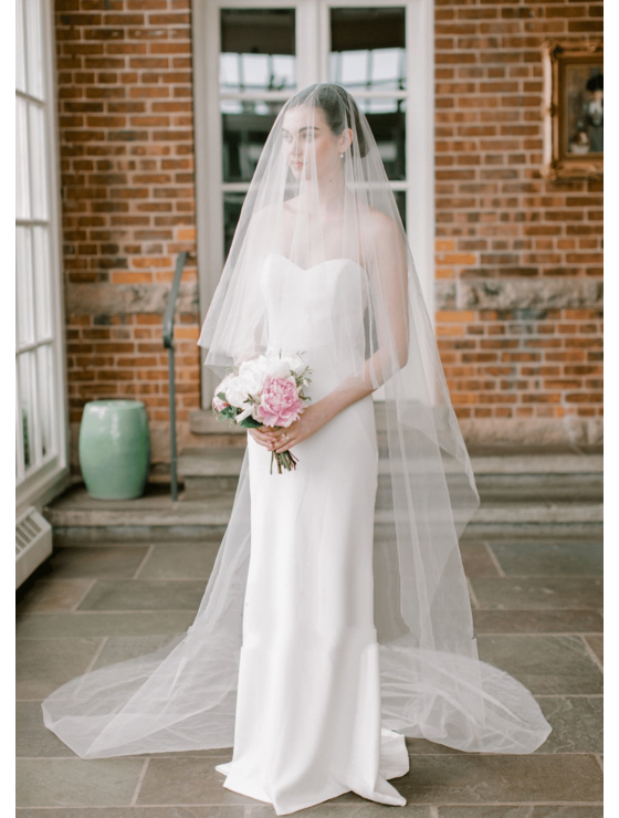 Haley Veil   Classic Romantic Cathedral Length with Blusher 3 Meters Ivory Bridal Veil