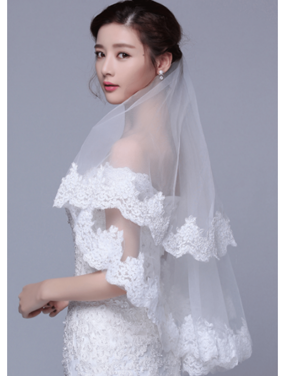 Olivia Veil | Chantilly Lace Trim Ivory Veil Fingertip Length 1.5 Meters Bridal Veil