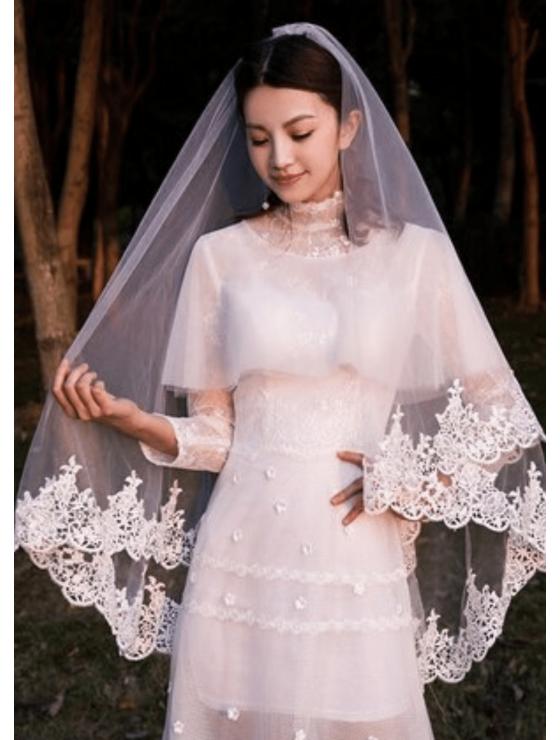 Bella Veil | French Lace Trim Fingertip Length 1.8 Meters Ivory Wedding Veil