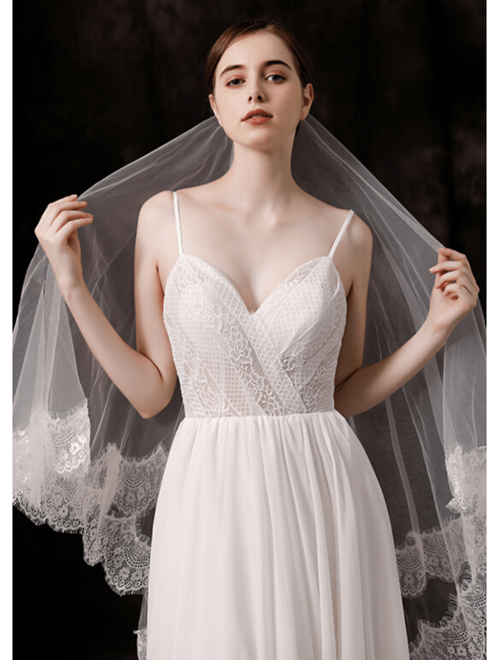 Taylor Veil | Classic Lace Trim Fingertip 1.5 Meters Ivory Wedding Veil
