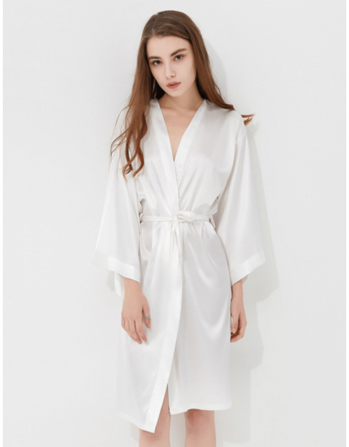 Iris Luxe Silk Robes (White)
