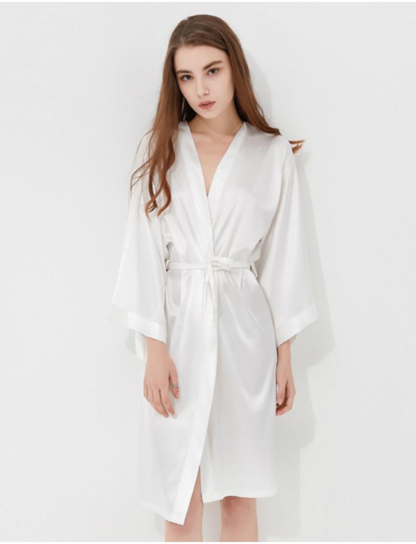 Iris Luxe Silk Robes (White)