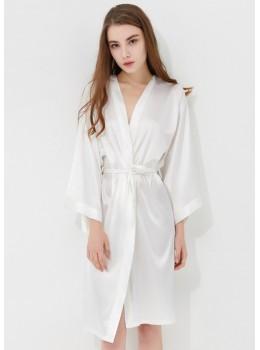 Iris Luxe Silk Robe (White)