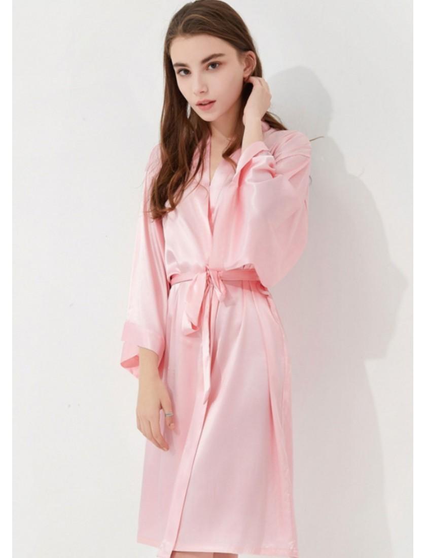 Iris Luxe Silk Robe (Blush Pink)