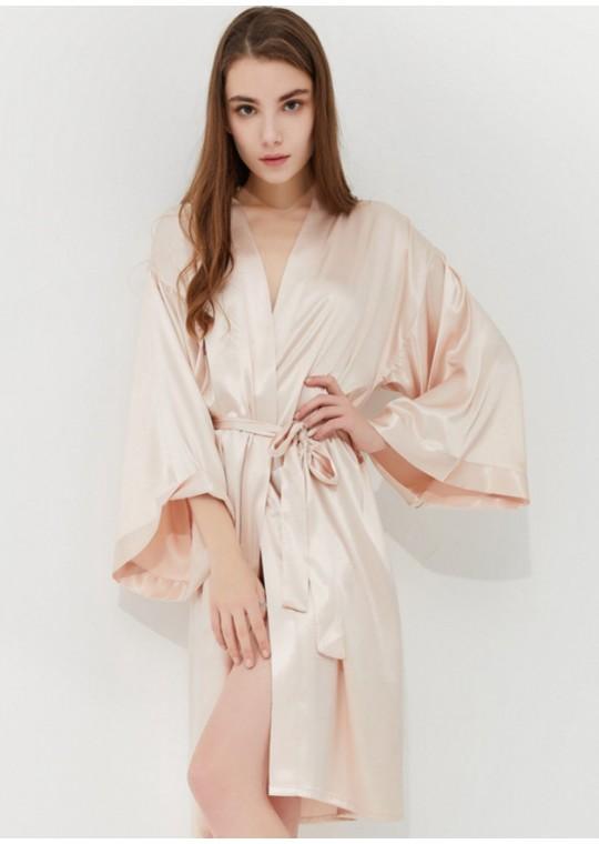 Iris Luxe Silk Robe (Champagne)