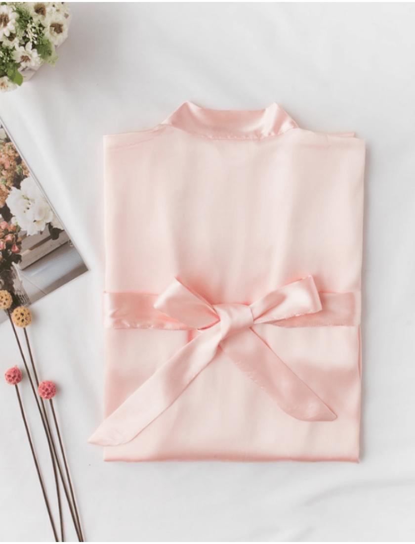 Iris Luxe Silk Robes (Petal Pink)