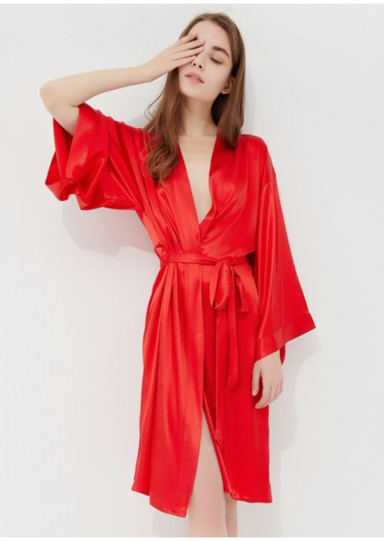 Iris Luxe Silk Robe (Red)